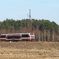 15.03.2011 Stobno. SA132-004 jako Regio Piła Głowna - Krzyż mija unieważniony i zniszczony semafor wjazdowy do dawnej stacji Stobno. #kolej #Piła #zima