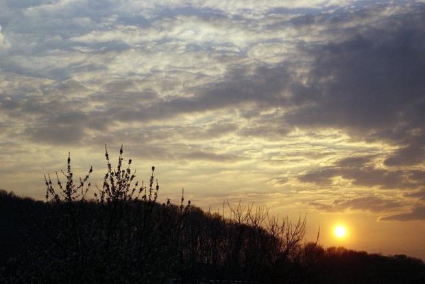 Chodziaż w niedzielę nie chciało świecić ,na koniec dnia pięknie się zaprezentowało by zapowiedzieć dzisiejszy piękny dzień