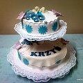 3 kg torcik na chrzciny Krzysia #chrzciny #tort #słodycze #kwiaty #dzidziuś