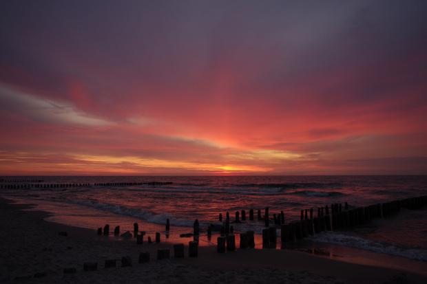 #Bałtyk #morze #niebo #Niechorze #plaża #ZachódSłońca