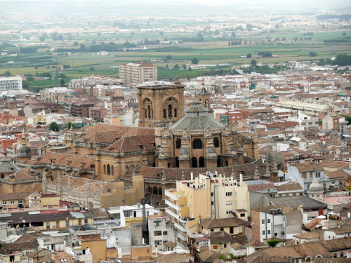 Panorama miasta z Alcazaby w Alhambrze #Andaluzja