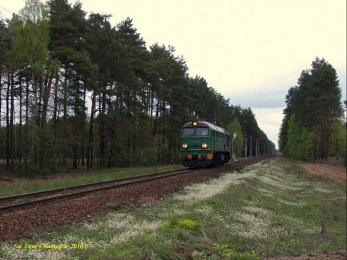 ST44-878 na szlaku Płytnica - Stara Łubianka. Luzak na pełnym biegu w kierunku Piły.