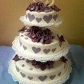 Tort na wesele Biało - fioletowy z sercami #wesele #tort #kościół #serca #fiolet