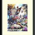 haft krzyżykowy, obrazek #HaftKrzyżykowy #rękodzieło #RobótkiRęczne #ogród #kwiaty #dom #domek