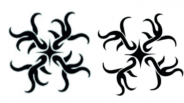 Trochę nieudana próba stworzenia tribala na wzór. Nie wyszła mi ta gwiazdka w środku...