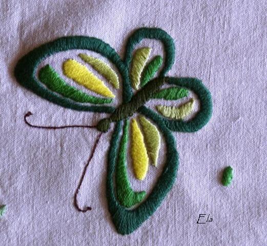 fragment serwety #motyl #zielony #HaftPłaski