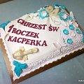 Torcik na chrzciny i urodziny Kacperka #Chrzciny #urodziny #tort #kaczuszka #poduszka